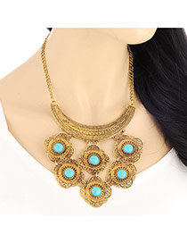 Exaggerate Gold Color Flower Shape Decorated Simple Design Alloy Bib Necklaces