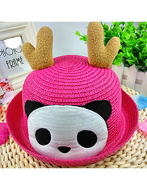 Lovely Plum Red Panda&antlers Decorated Crimping Design Straw Children's Hats
