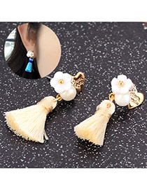 Fashion White Flower Decorated Tassel Design Alloy Stud Earrings