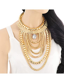 Exaggerate Gold Color Multilayer Metal Chain Pendant Decorated Collar Design