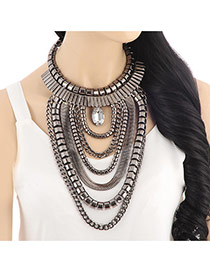 Exaggerate Silver Color Multilayer Metal Chain Pendant Decorated Collar Design