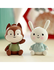 Fashion White+brown Wolf&rabbit Shape Design Dots Descendants Of The Sun Resin Household goods