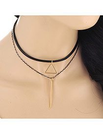 Fashion Gold Color Triangle&strip Shape Decorated Double Layer Design Alloy Chokers