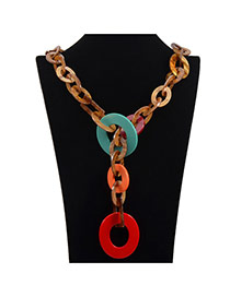 Exaggerate Red Circle Decorated Chain Shape Design Acrylic Bib Necklaces