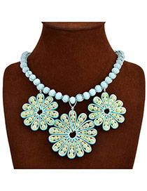Exaggerate Green Hollow Out Flower Pendant Decorated Simple Design Crystal Bib Necklaces