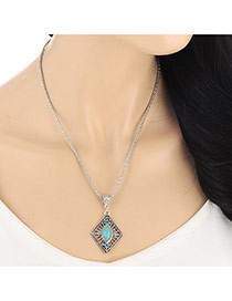 Fashion Blue Diamond Decorated Square Shape Pendant Design