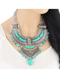 Exaggerate Blue Hollow Out Diamond Decorated Multilayers Design