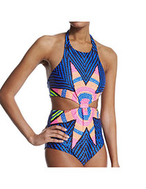 Sexy Blue Big Flower Pattern Decorated Conjoined Design Polyester Monokini