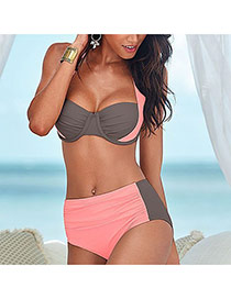 Sexy Pink+gray Color Matching Decorated Hang Neck Design Polyester Sexy Bikini