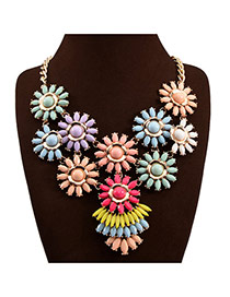Exaggerate Multi-color Flower Weaving Decorated Short Chain Design Alloy Bib Necklaces