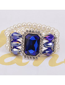 Elegant Blue Square Diamond Decorated Multilayer Design Crystal Korean Fashion Bracelet