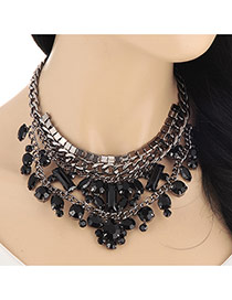 Fashion Black Geometry Diamond Decorated Double Layers Design Alloy Bib Necklaces