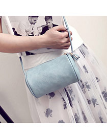 Vintage Blue Cylindrical Decorated Pure Color Design Pu Messenger bags