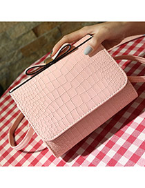 Fashion Pink Crocodile Grain Pattern Decorated Pure Color Design