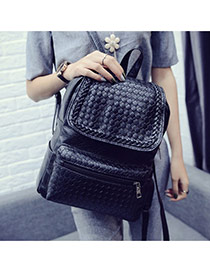 Fashion Black Grid Pattern Decorated Pure Color Design Pu Backpack