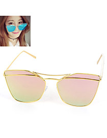 Trendy Pink Metal Decorated Geometric Shape Reflective Design Alloy Women Sunglasses