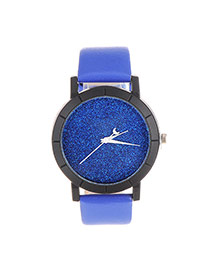 Fashion Sapphire Blue Candy Color Decorated Round Case Design Pu Ladies Watches