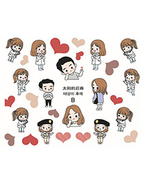 Lovely Multicolor Cartoon Girl Pattern Design Dots Descendants Of The Sun Paper Nails