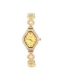 Fashion Gold Color Diamond Decorated Clover Shape Band Design  Alloy Ladies Watches