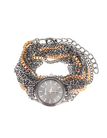 Exaggerate Black Multilayers Chain Decorated Round Case Design  Alloy Ladies Watches