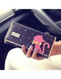 Fashion Black Cartoon Cat Pattern & Bowknot Decorated Square Shape Design Pu Wallet
