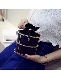 Fashion Black Metal Decorated Barrel Shape Design Pu Shoulder bags