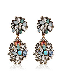 Exaggerate Multicolor Geometry Diamond Decorated Flower Shape Design