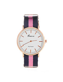 Elegant Pink Color Matching Decorated Round Case Design Fabric Ladies Watches