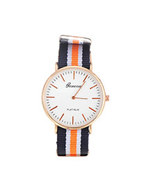 Elegant Orange Color Matching Decorated Round Case Design Fabric Ladies Watches