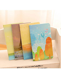 Lovely Random Color Trees Pattern Simple Design Paper Stickers Notebook Paper Notebook Agenda