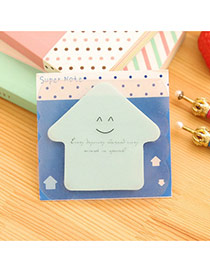 Lovely Blue Smile Pattern Hpuse Shape Design Paper Stickers Tape Paper Scratch Pad Sticky