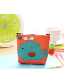 Lovely Multi-color Dolphin Pattern Decorated Simple Design Leather Wallet