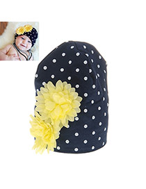 Fashion Black+yellow Two Flowers Decorated Simple Design Cotton Children's Hats