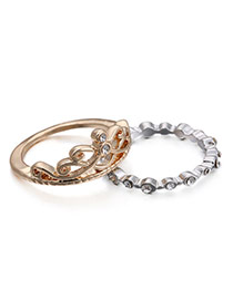 Personality Gold+silver Color Diamond Decorated Crown Shape Design Alloy Korean Rings