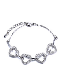 Personality Silver Color Heart Shape Decorated Hollow Out Design Alloy Korean Fashion Bracelet