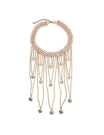 Fashion Gold Color Metal Tassel Pendant Decorated Hollow Out Chain Design Alloy Bib Necklaces