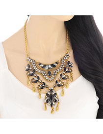 Exaggerate Gold Color +black Hollow Out &diamond Decorated Multi-layer Design