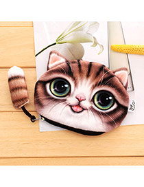 Lovely Coffee Cartoon Cat Pattern Decorated 3d Design Plush Wallet