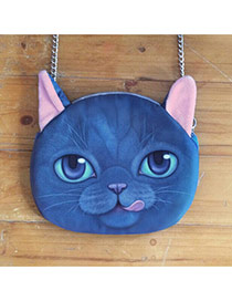 Lovely Sapphire Blue Cat Pattern Decorated Chian Design