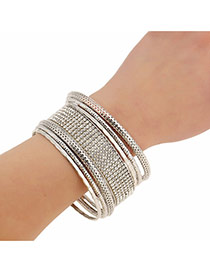 Exaggerate Silver Color Full Diamond Decorated Multilayer Design Alloy Fashion Bangles