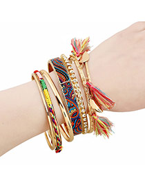 Fashion Multi-color Tassel Pendant Decorated Multilayer Design Alloy Fashion Bangles