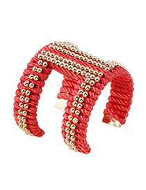 Elegant Red Beads Hand-woven Decorated Opening Design Alloy Fashion Bangles