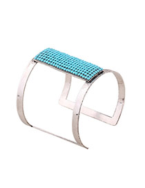 Exaggerate Peacock Blue Rectangle Diamond Decorated Hollow Out Opening Design Alloy Fashion Bangles