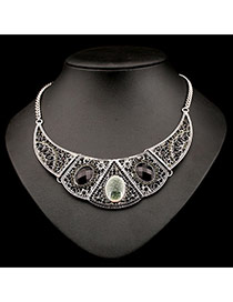 Exaggerate Gray Oval Gemstone Decorated Collar Shape Design Alloy Bib Necklaces