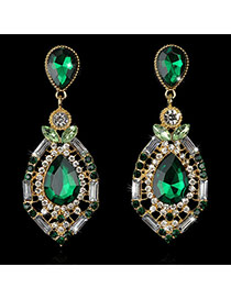 Luxury Green Waterdrop Shape Diamond Decorated Simple Design Rhinestone Stud Earrings