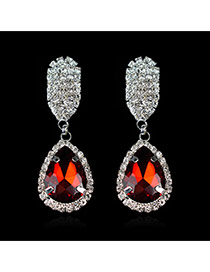 Luxury Red Waterdrop Shape Diamond Decorated Simple Design Cz Diamond Stud Earrings