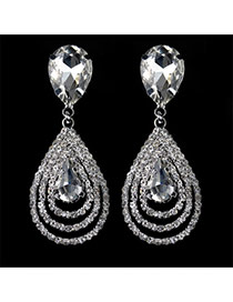 Luxury White Hollow Out Waterdrop Shape Diamond Decorated Simple Design Cz Diamond Stud Earrings