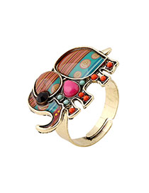 Vintage Multi-color Elephant Shape Decorated Simple Design Alloy Korean Rings