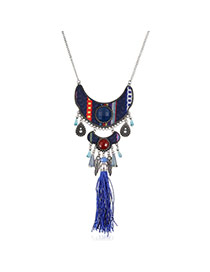 Trendy Blue Pearl Decorated Tassel Design Alloy Bib Necklaces