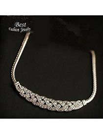Elegant Silver Color Diamond Decorated Weaving Design